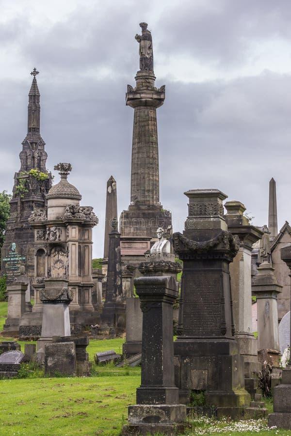 Group of memorial monuments at Glasgow Necropolis, Scotland UK. stock photos