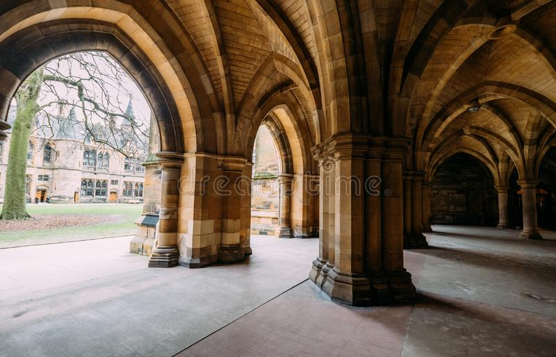Glasgow, Scotland, UK – March 13, 2018:The Cloisters also known as The Undercroft - iconic part of the University of Glasgow. Main biulding in Glasgow royalty free stock image