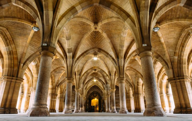 Glasgow, Scotland, UK – March 13, 2018:The Cloisters also known as The Undercroft - iconic part of the University of Glasgow. Main biulding in Glasgow stock photos