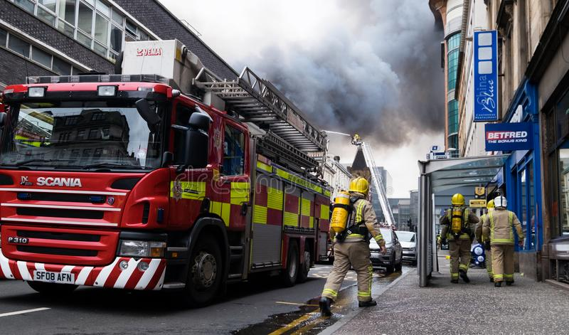 Glasgow, Scotland - United Kingdom, March 22, 2018: Large fire in the Glasgow city center at Sauchiehall Street in Glasgow, United. Kingdom stock image