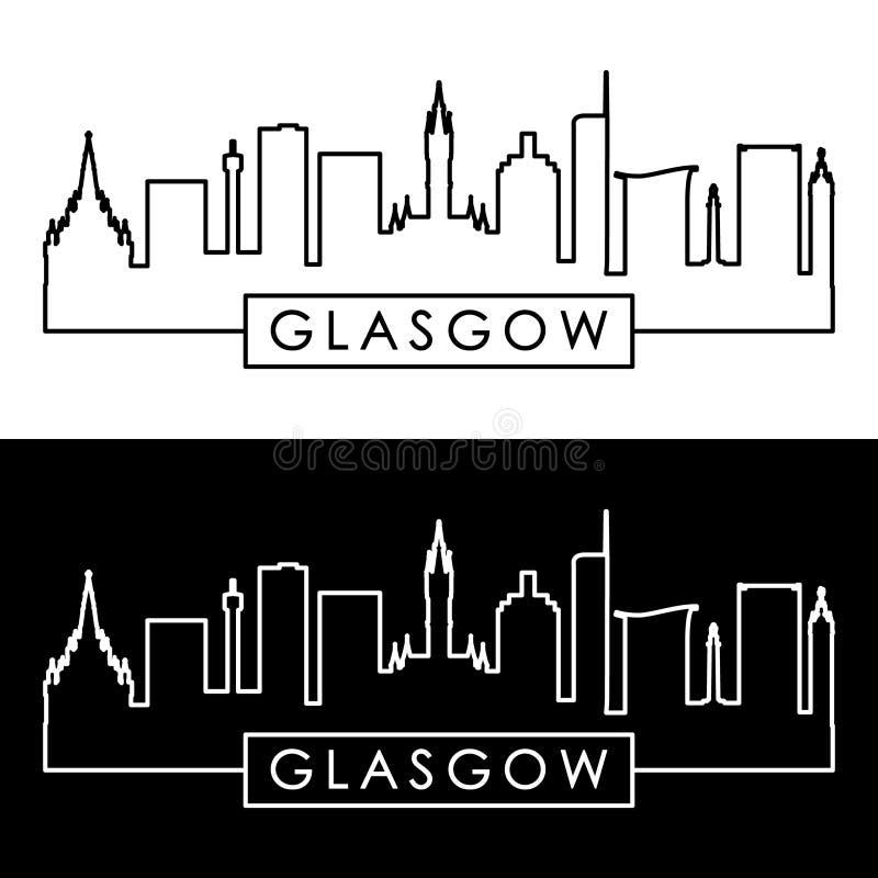 Glasgow Skyline estilo linear ilustração do vetor