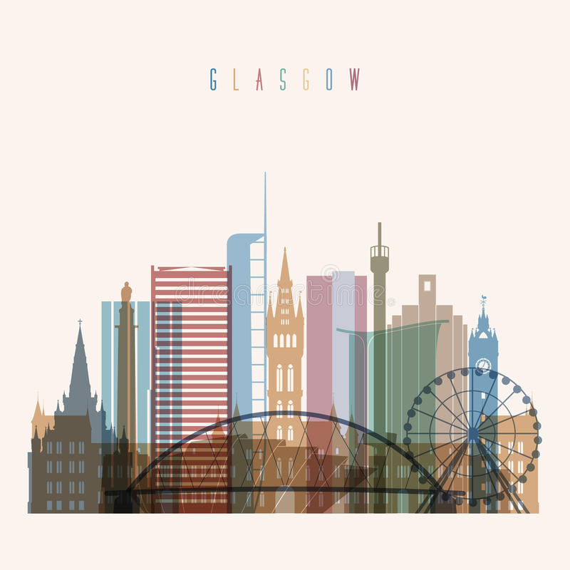 Download Glasgow skyline poster. stock vector. Illustration of downtown - 83705487