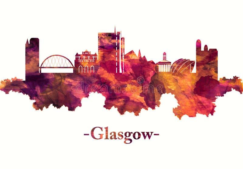 Glasgow Szkocja linia horyzontu w czerwieni ilustracji