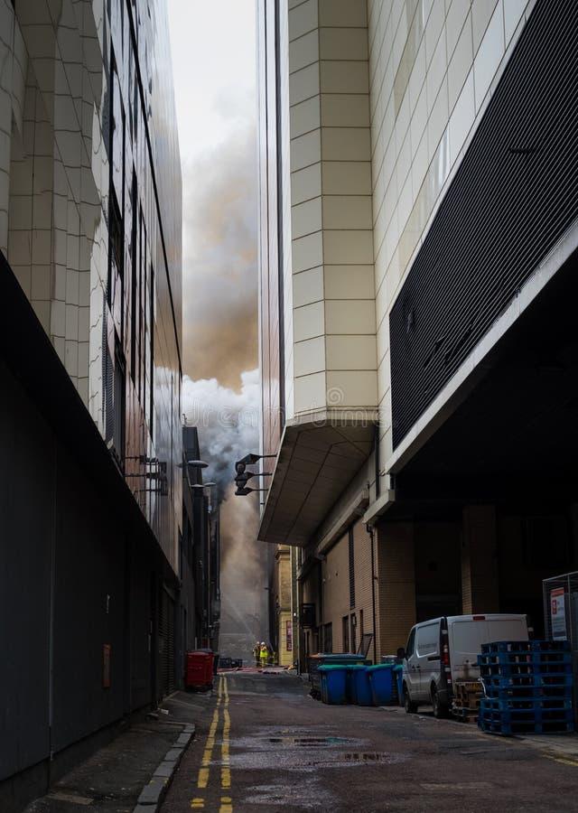 Glasgow Szkocja, Zjednoczone Królestwo, -, Marzec 22, 2018: Wielki ogień w Glasgow centrum miasta przy Sauchiehall ulicą w Glasgo zdjęcia royalty free