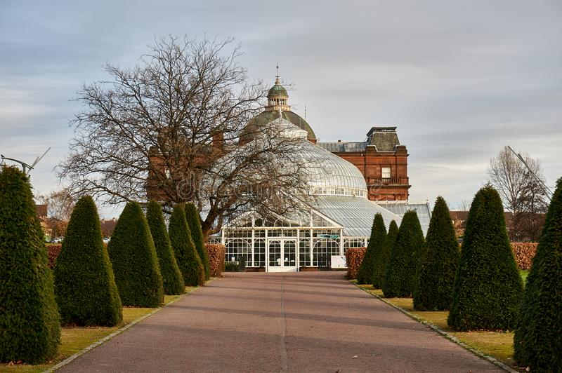 People`s Palace located in the popular Glasgow Green Park serves as a winter garden, a cafe and a museum. royalty free stock photo
