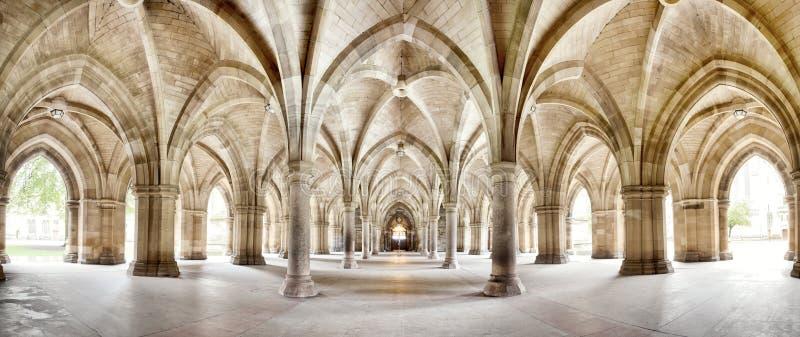 Glasgow uniwersytet Cloisters panoramę zdjęcie stock