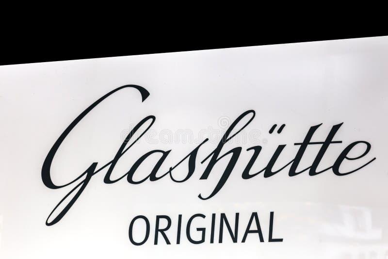 Glashütte podpisuje wewnątrz Aachen Germany obrazy royalty free
