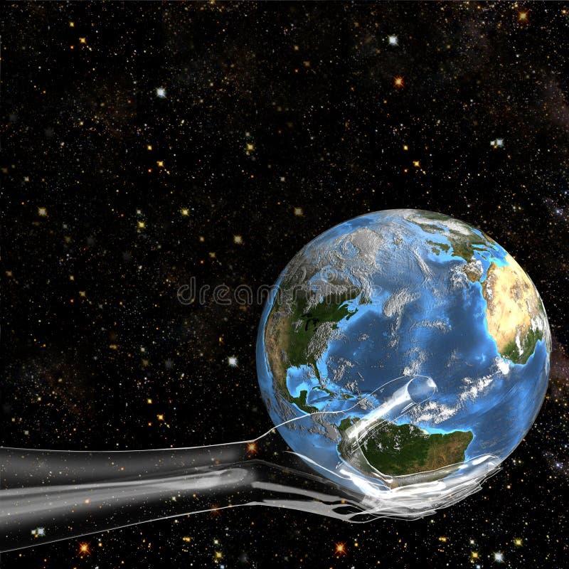 Glashand hält Erde im Platz an lizenzfreie abbildung