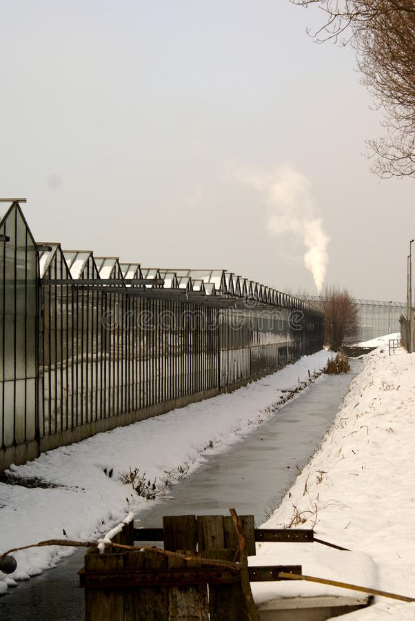 Glashaus im Schnee lizenzfreie stockfotografie