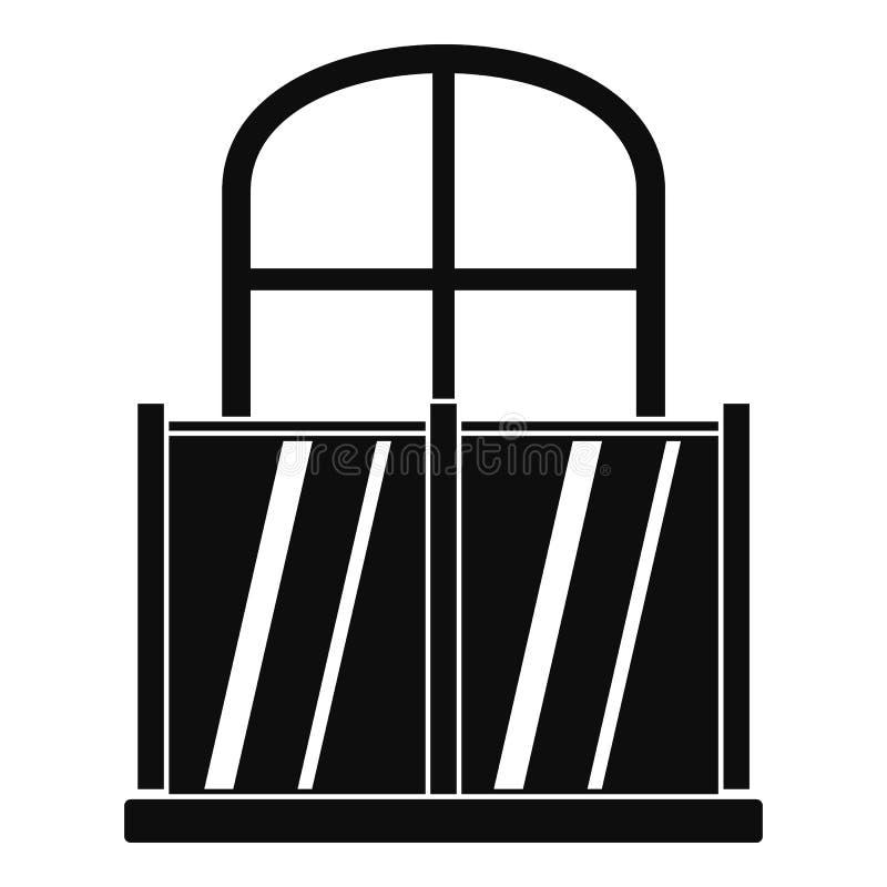Glasig-glänzende Balkonikone, einfache Art stock abbildung