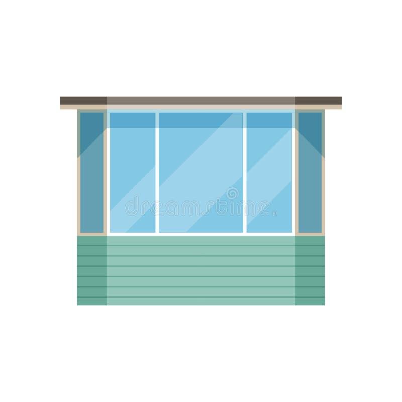 Glasig-glänzende moderne Balkonvektor Illustration auf einem weißen Hintergrund stock abbildung
