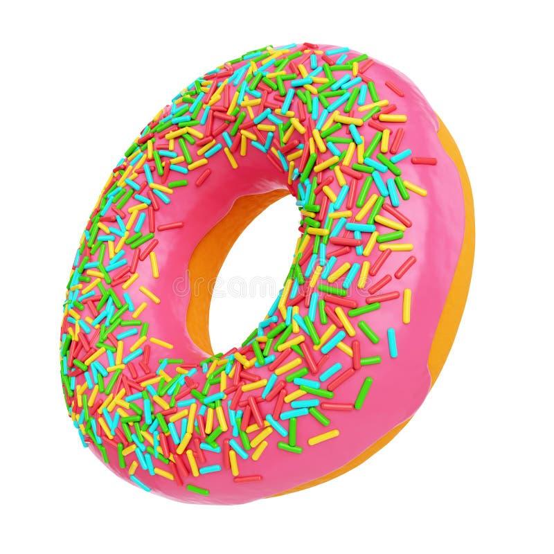 Glasig-glänzender Donut des Rosas stock abbildung