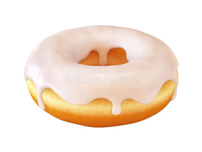 Glasig-glänzender Donut oder Donut mit weißer bereifender Wiedergabe 3d lizenzfreie abbildung