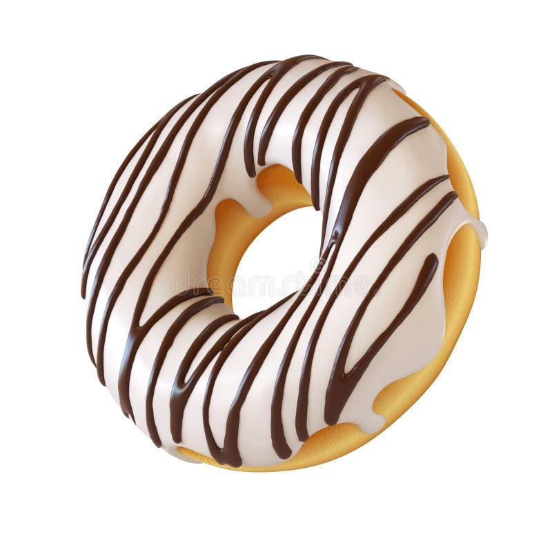 Glasig-glänzender Donut, weiße bereifende Wiedergabe des Donuts 3d lizenzfreie abbildung