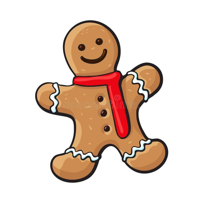 Glasig-glänzendes gingerman, Weihnachtslebkuchenplätzchen vektor abbildung