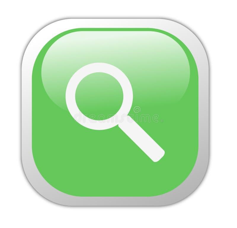 Glasige grüne quadratische Recherche-Ikone stock abbildung