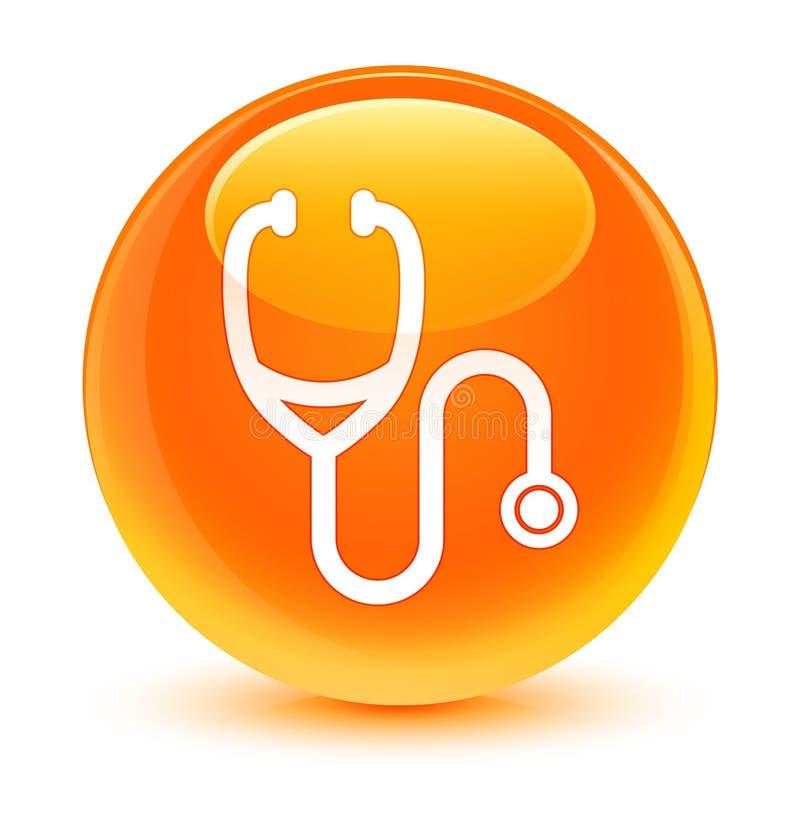 Glasiger orange runder Knopf der Stethoskopikone stock abbildung