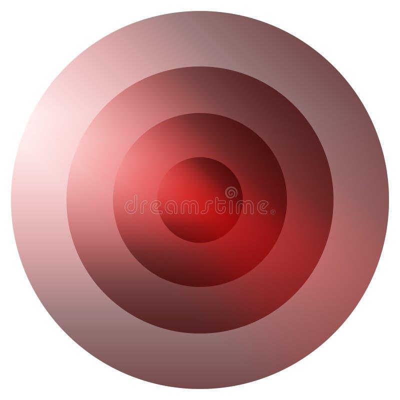 Glasiges buntes Ausstrahlen, Element der konzentrischen Kreise Glühendes b stock abbildung