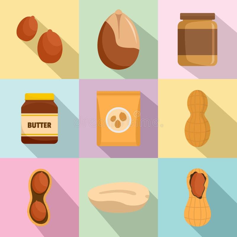Glasikonen der Erdnuss nuts Butterstellten, flache Art ein vektor abbildung