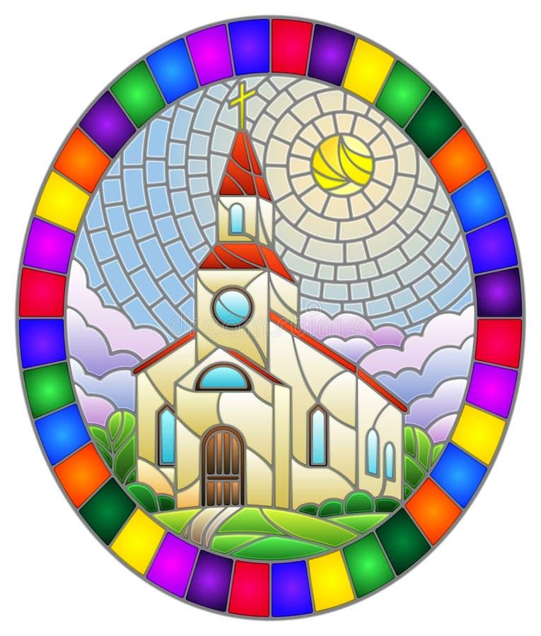 Glasillustration med kyrkan mot bakgrund av sommarlandskapet, en kyrka mot bakgrund av Sunny sky och Gree vektor illustrationer
