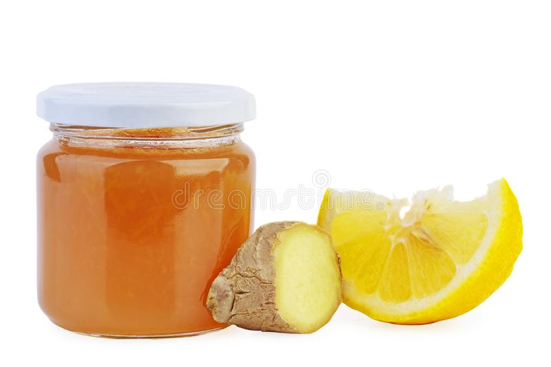 Glasjar mit Ingwer und Zitronenmarmelade stockbilder