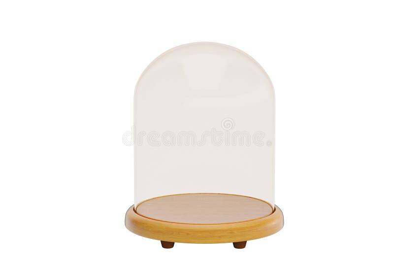 Glasklok met houten die basis op witte achtergrond wordt geïsoleerd 3d illu stock illustratie