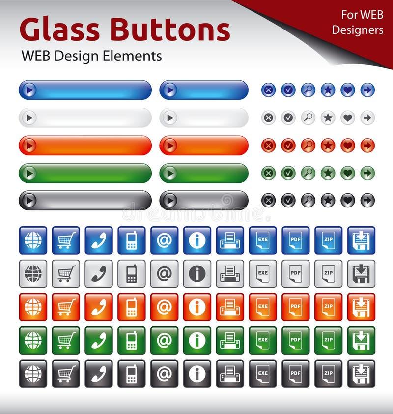 Glasknopen - de Elementen van het WEBontwerp stock afbeeldingen