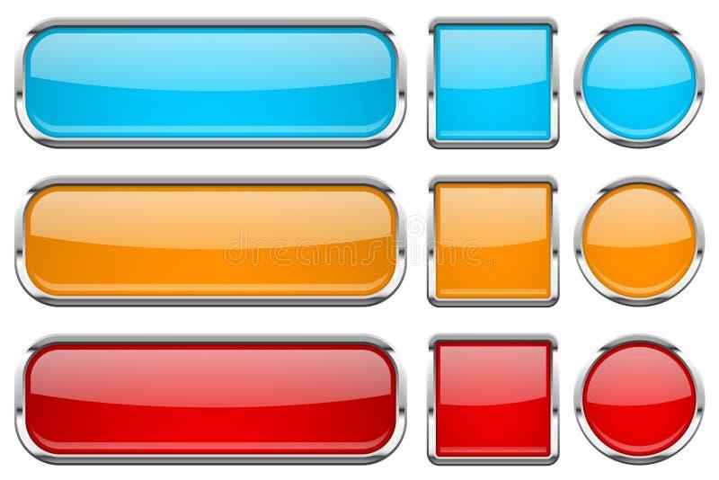 Glasknopen met chroomkader Reeks gekleurde glanzende 3d Webpictogrammen Rood, sinaasappel en blauw vector illustratie