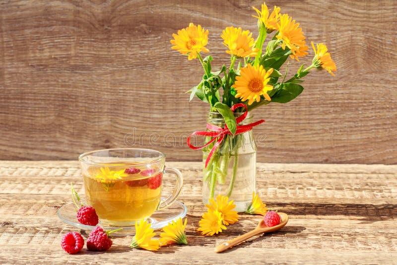Glaskop van groene thee met bloemen van calendula en verse raspb stock afbeelding