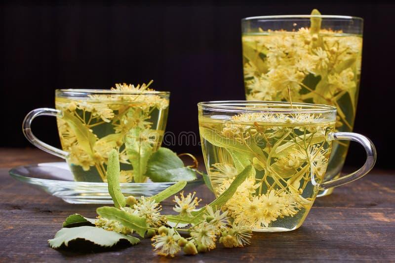 Glaskoppen van lindethee met verse bloemen stock foto