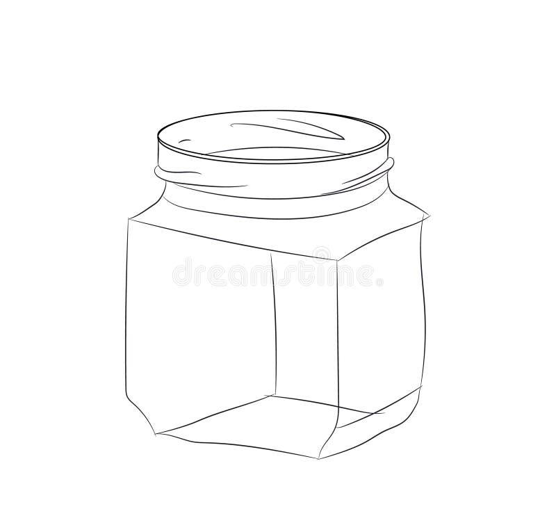 Glaskruik, lijn, vector stock illustratie