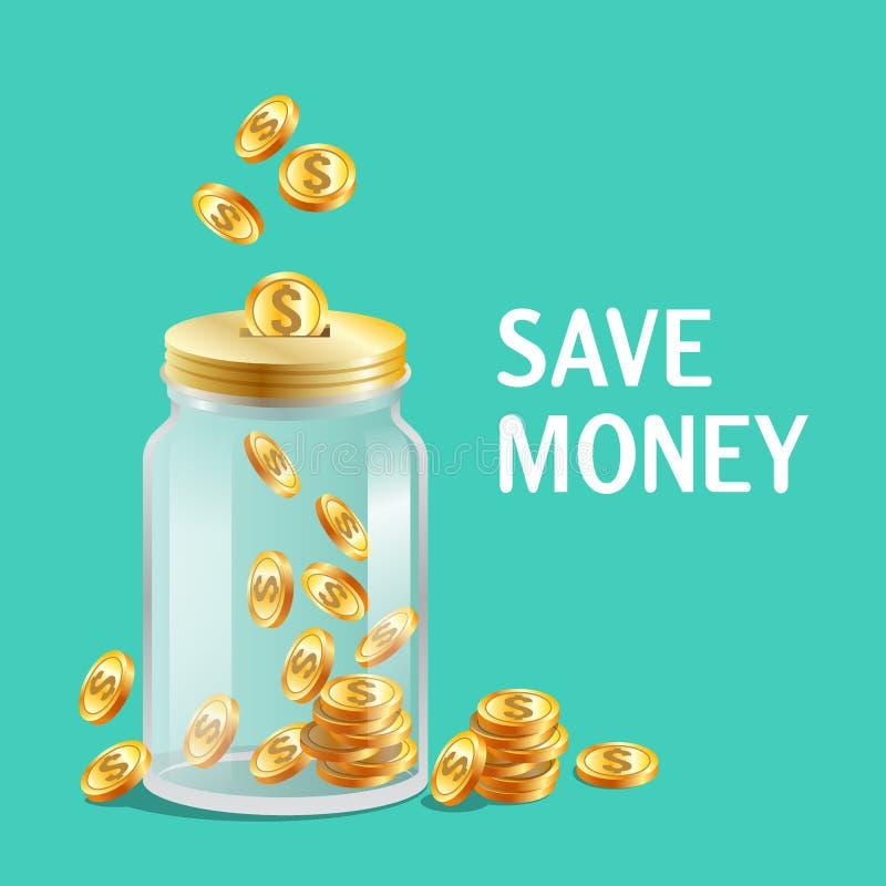 Glaskruik met GLB, moneybox pictogram, heldere gouden muntstukken royalty-vrije illustratie