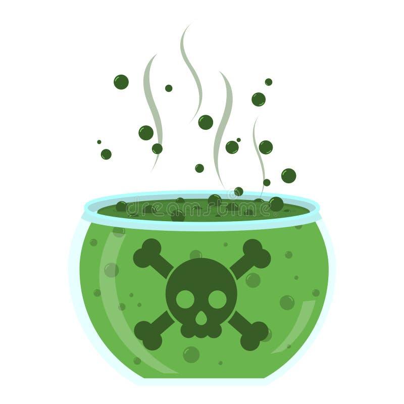 Glaskruik met groen vergift stock illustratie