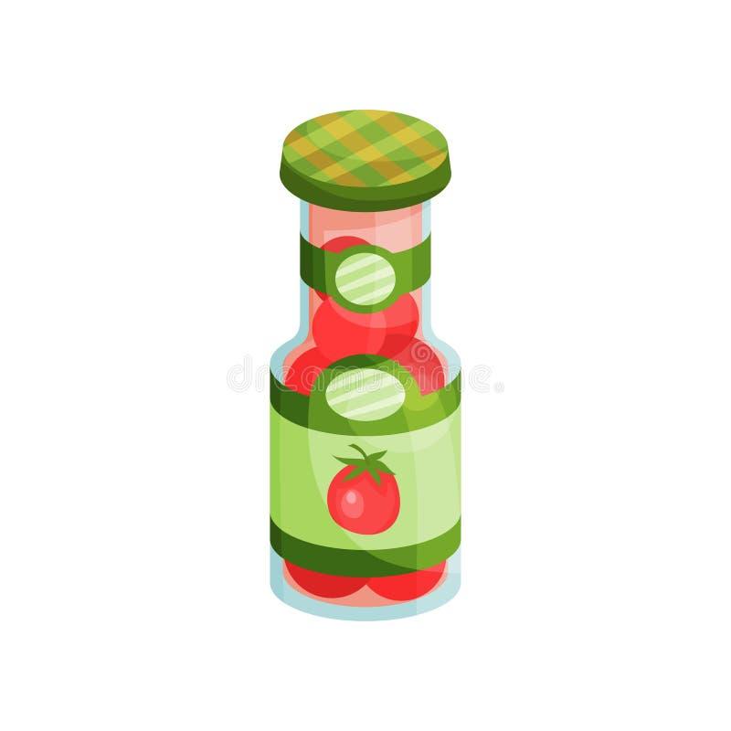 Glaskruik met ingelegde tomaten, de ingeblikte vectorillustratie van het groentenbeeldverhaal royalty-vrije illustratie