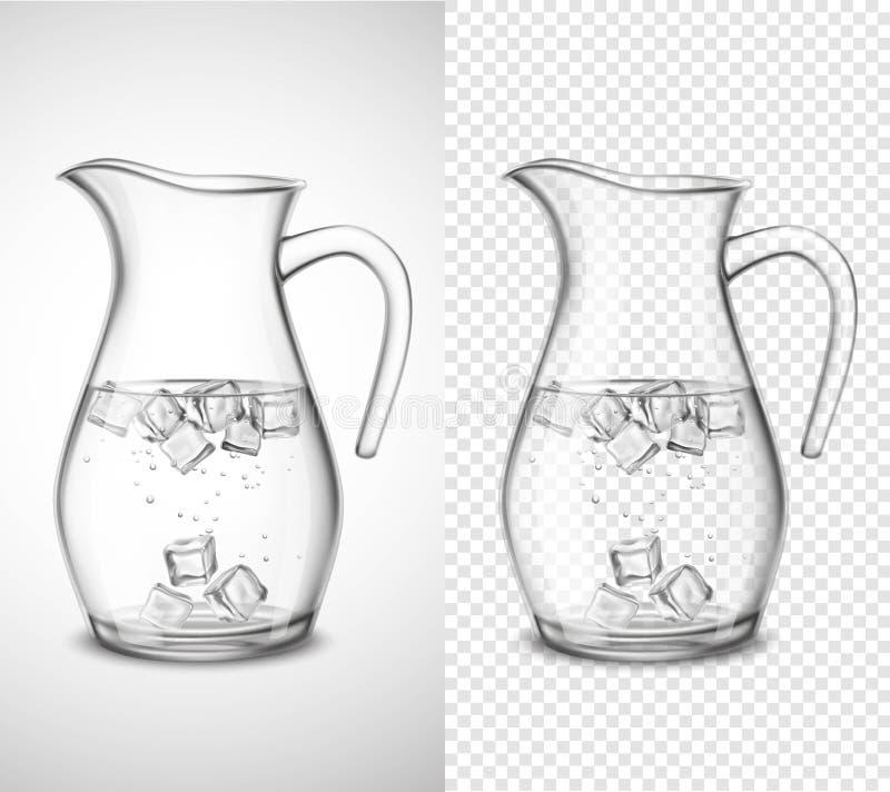Glaskruik met Water en Ijs stock illustratie