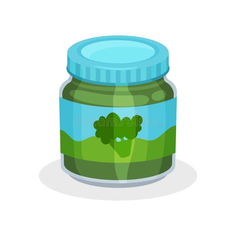 Glaskruik natuurlijk babyvoedsel Plantaardige puree van organische broccoli Gezonde maaltijd voor jonge geitjes Vlak vectorpictog stock illustratie