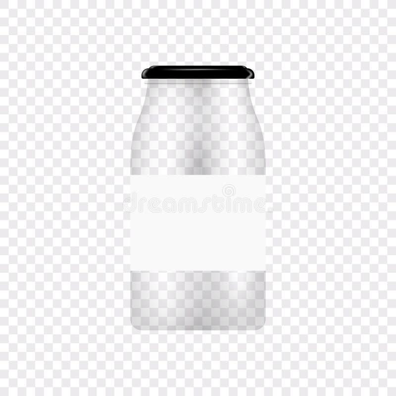 Glaskruik voor het inblikken en behoud Het vector lege malplaatje van het kruikontwerp met dekking of deksel op transparant royalty-vrije illustratie