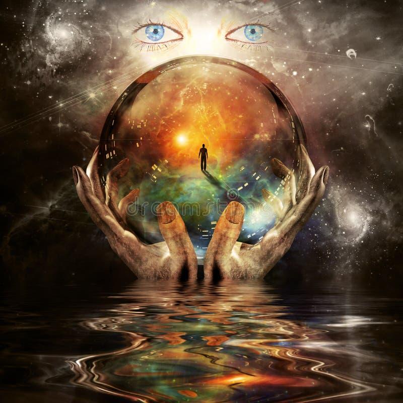 Glaskugel in den Händen des Schöpfers stock abbildung