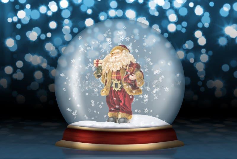 Glaskugel mit Weihnachtsmann stock abbildung