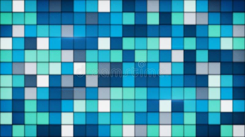 Glasmosaikhintergrund der blauen Fliesen vektor abbildung