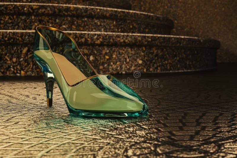 Glaspantoffel op de vloer dichtbij de treden stock afbeeldingen