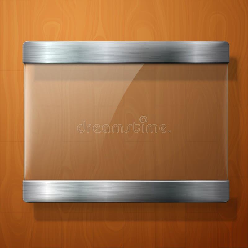 Glasplaat met metaalhouders, voor uw tekens,  stock illustratie