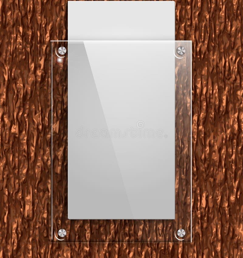 Glasplatte auf der Barke eines Baums mit Weißbuch stock abbildung
