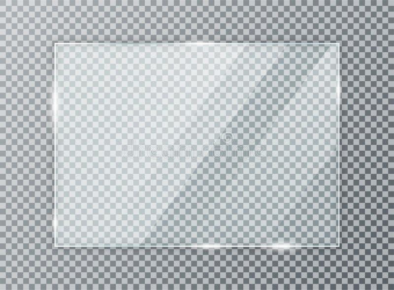 Glasplatte auf transparentem Hintergrund Acryl- und Glasbeschaffenheit mit grellem Glanz und Licht stock abbildung