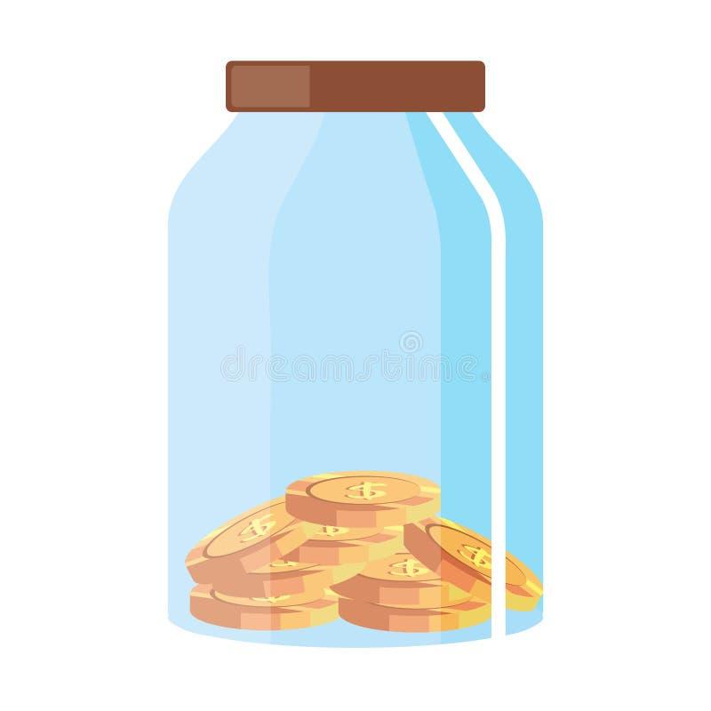 Glaspot met muntstukken royalty-vrije illustratie