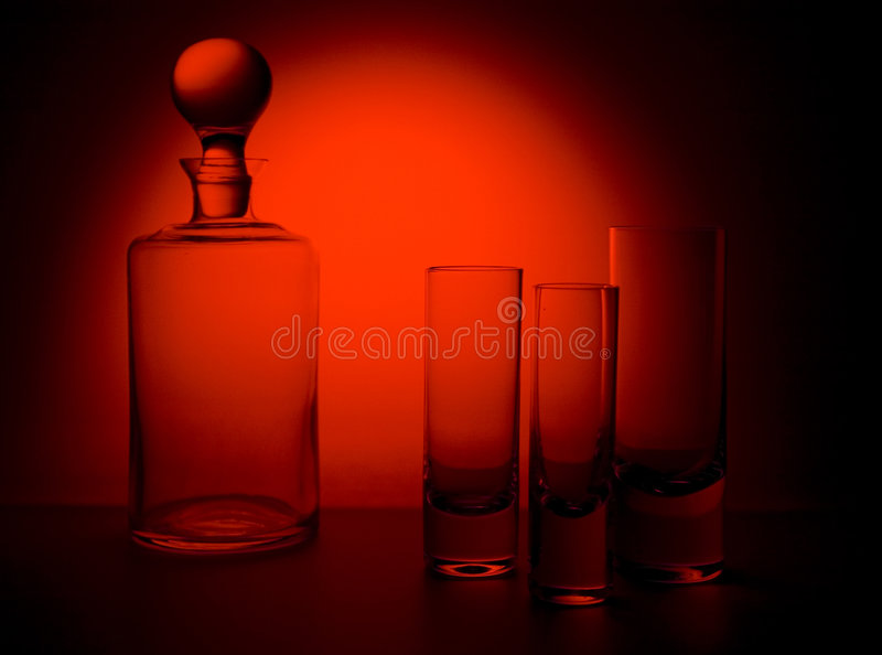 Glass 1. Stilllife of decanter and glasses royalty free stock photo
