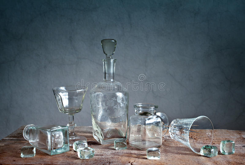 Glass. Still Life with differently shaped glass bottles stock image