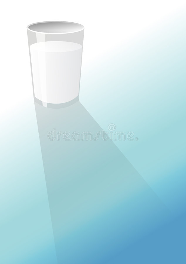 Glass. A glass of milk on the floor stock illustration