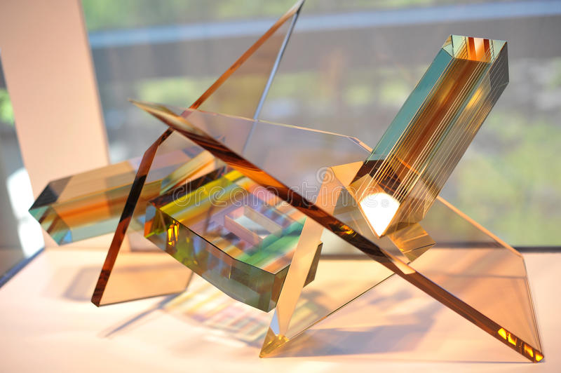 Glass abstract geometric shapes. In the Corning Museum of Glass, USA stock photos
