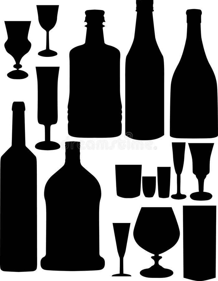 Free Glass And Bottles Silhouettes Royalty Free Stock Photo - 4830115